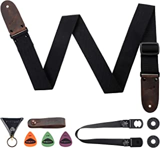 """M33 Cotton Guitar Strap Black for Acoustic, Electric and Bass Guitars - 2"""" Wide INCLUNDS FREE STRAP BUTTON + LOCKS+3PICKS INCLUDED BEST STRAP BUNDLE"""
