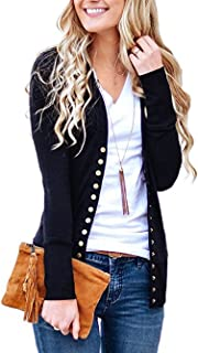 Famulily Womens Long Sleeve Snap Button Down Knit Cardigan Sweater Solid V Neck Basic Knitwear