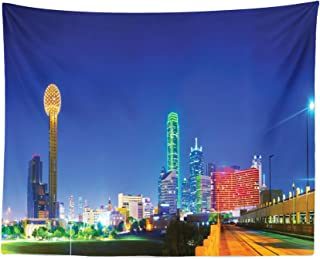 Lunarable USA Tapestry, Panoramic Overview Dallas TX in The Night Tourist Attractions Famous Cityscape Image, Fabric Wall Hanging Decor for Bedroom Living Room Dorm, 28