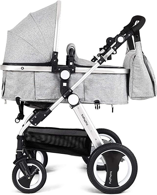 BABY JOY Baby Stroller 2 In 1 Convertible Bassinet Reclining Stroller Foldable Pram Carriage With 5 Point Harness Including Cup Holder Foot Cover Diaper Bag Aluminum Structure Gray