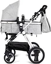 Including Rain Cover Cushion Pad Net BABY JOY Baby Stroller Foldable Pram Carriage with 5-Point Harness Black Diaper Bag 2-in-1 Convertible Bassinet Sleeping Stroller Foot Cover