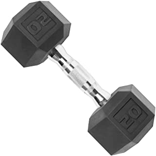 CAP Barbell Rubber Coated Solid Steel Cast-Iron Dumbbell, Rubber Hex Dumbbell, Hex Weight Dumbbell for Muscle Toning, Full...