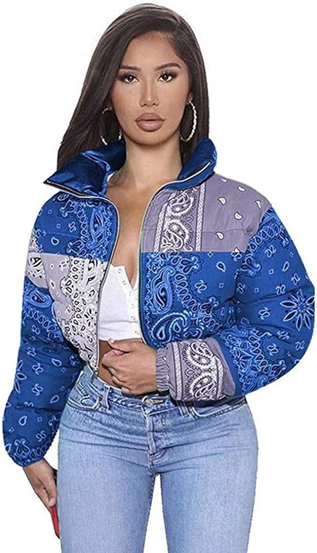 Women Shiny Short Puffer Jackets お見舞い デポー Up Cropped Fashion Zip Printed