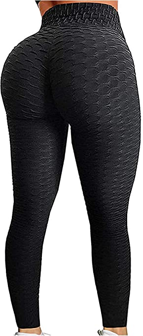 reviewer wears leggings with ruched line in the middle of the butt area and web-like texture
