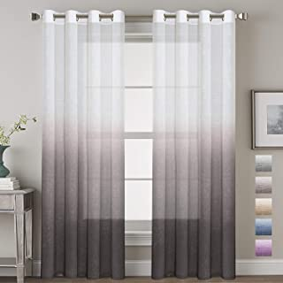 H.VERSAILTEX Functional Ombre Linen Sheer Curtains Pair Set Open Weave Curtain Highly Durable Nickel