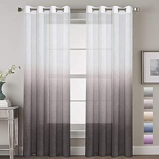 H.VERSAILTEX Taupe Gray Curtains Natural Linen Mixed Semi Sheer Curtains 96 Inches Long Beautiful Ombre Sheer Window Elegant Curtains/Drapes/Panels/Treatment, 2 Panels