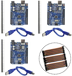 KeeYees 3 Set ATmega328P CH340 Microcontroller Development Board Compatible with Arduino IDE with USB Cable and 2.54mm Straight Pin Header + 3pcs 40Pin 20cm Dupont Female Male Jumper Wires