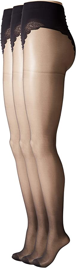 So Sexy French Lace Sheer Control Top Pantyhose (3-Pack)
