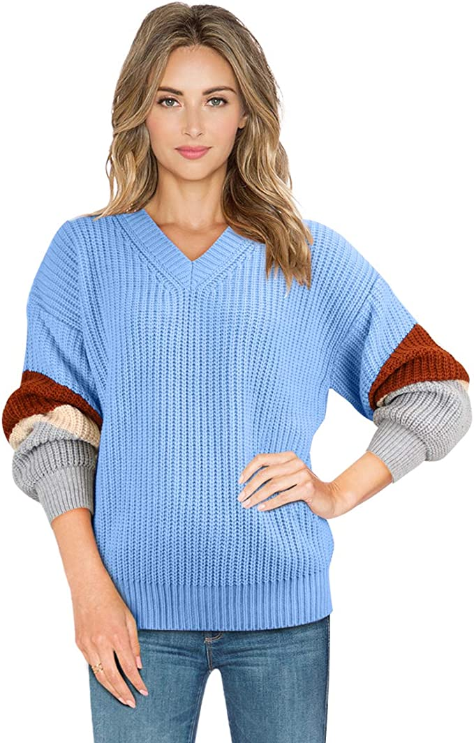 Sweaters for Women V Neck Lightweight Long Sleeve Casual Knitted Oversized Loose Pullover Jumper Tops