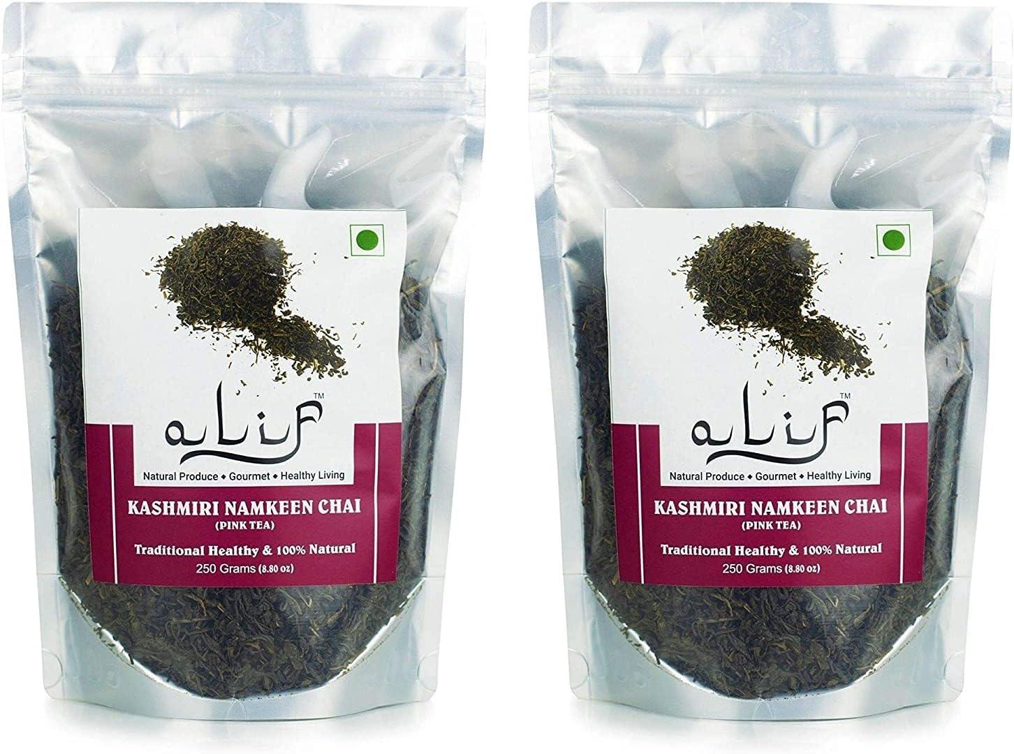 Valocity Max 70% OFF Alif Premium Kashmiri Spring new work Namkeen Tea 500g Noon 250gx2 Ch