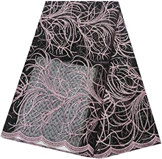 Nigerian Lace Fabrics African French Lace Fabric with Beads Tull Lace Fabric African Lace Fabric for Party Dress (Color : BLACK, Size : 5 yards)