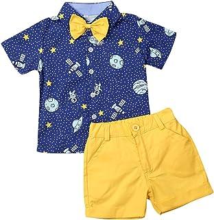 Geagodelia Conjunto Niños Bebés Verano Gentleman Camiseta de Manga Corta Pantalón Corto Ropa Bautizo de 2 Piezas Traje de ...