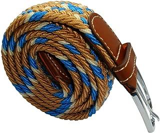 Bassin and Brown Mens Cross Stripe Woven Elasticated Belt - Beige/Blue/White