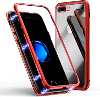 iPhone 8 Plus Case,iPhone 7 Plus Case, ZHIKE Magnetic Adsorption Case Metal Frame Tempered Glass Back with Built-in Magnet Cover for Apple iPhone 7Plus/8 Plus (Clear Red)