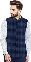 Vastraa Fusion Men's Cotton Bandhgala Checkered Nehru Jacket/Waistcoat (Blue and Black)