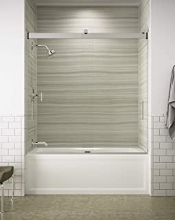 KOHLER K-706000-L-SH Levity Bypass Bath Door with Handle and 1/4-Inch Crystal Clear Glass in Bright Silver