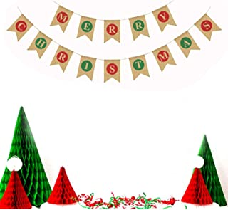 Megrocle 14 Pcs Natural Burlap Merry Christmas Banners Garlands Rustic Christmas Party Bunting Sign for Xmas Party Decoration Favors Photo Prop Decor