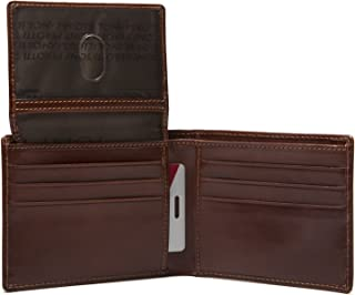 Tony Perotti Italian Leather Classic Passcase Billfold Bifold Double Currency Gusset Wallet with ID Window Flap, Cognac