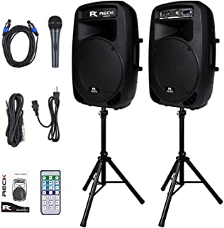 Proreck Dance 15 Portable 15-Inch 2000 Watt 2-Way Powered PA Speaker System Combo Set..