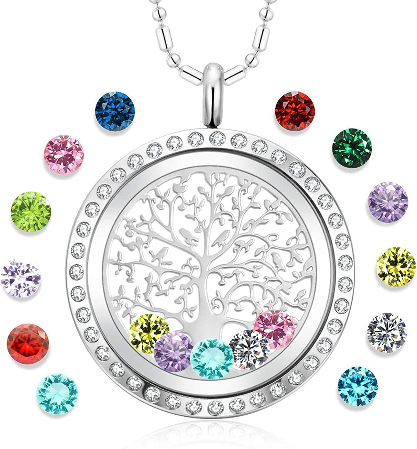 AZNECK Tree of Life Floating Charm Living Memory Lockets Pendant Necklace Stainless Steel Toughened Glass Gifts for Mom Family