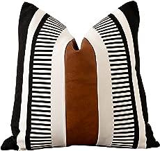مجموعة اغطية وسادة من الجلد الاصطناعي مزخرفة مخططة بتصميم ريفي مربع من في فوتي، اغطية لوسائد الاريكة مقاس 18 × 18 انش