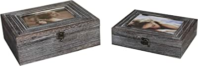 Benjara Molded Wooden Storage Box with Photo Frame Lid, Set of 2, Gray