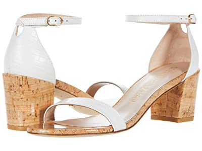 Stuart Weitzman Simple City Sandal (White Mini Croc/Cork) High Heels