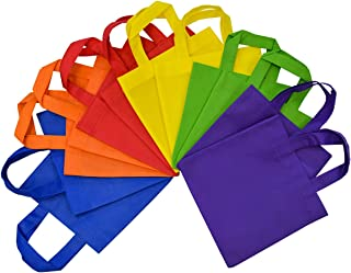 8x8 12 Pcs. Medium-Small Multi Color, Bright Neon Colors, Flat Reusable Gift Bags with Handles, Eco Friendly Tote Bags, Party Favor Bags for Kids Birthday Parties