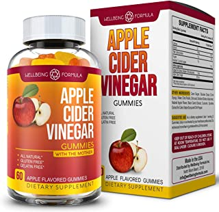 Pure Apple Cider Vinegar Gummies with Ginger-Raw Unfiltered ACV with The Mother-Best Alternative to Apple Cider Vinegar Ca...