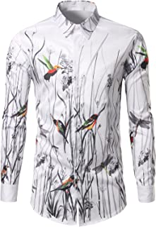 WHATLEES Mens Casual Hipster Printed Slim Fit Long Sleeve Dress Shirts Tops