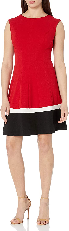 Sandra Darren Women's 1 Pc Extended Shoulder Lacosta Solid Striped Fit & Flare Dress