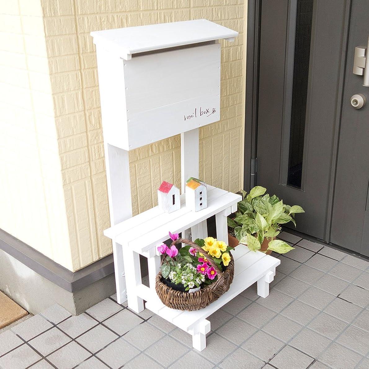 ヒゲクジラ放棄戸棚郵便ポスト 郵便受け メールボックス【フラワースタンド付】 (ホワイト)