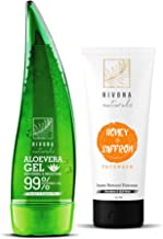 RIVONA NATURALS Unisex Organic and Pure Soothing Aloe Vera Gel for Face, Skin and Hair, 125ml and Fairness Face Wash Cleanser, 55ml