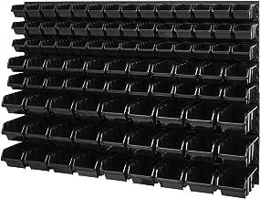Opbergsysteem wandrek - 1158 x 780 mm - stapelboxen kijkopslagbakken schudkast - wandplaten SET met 3 soorten dozen (zwart)