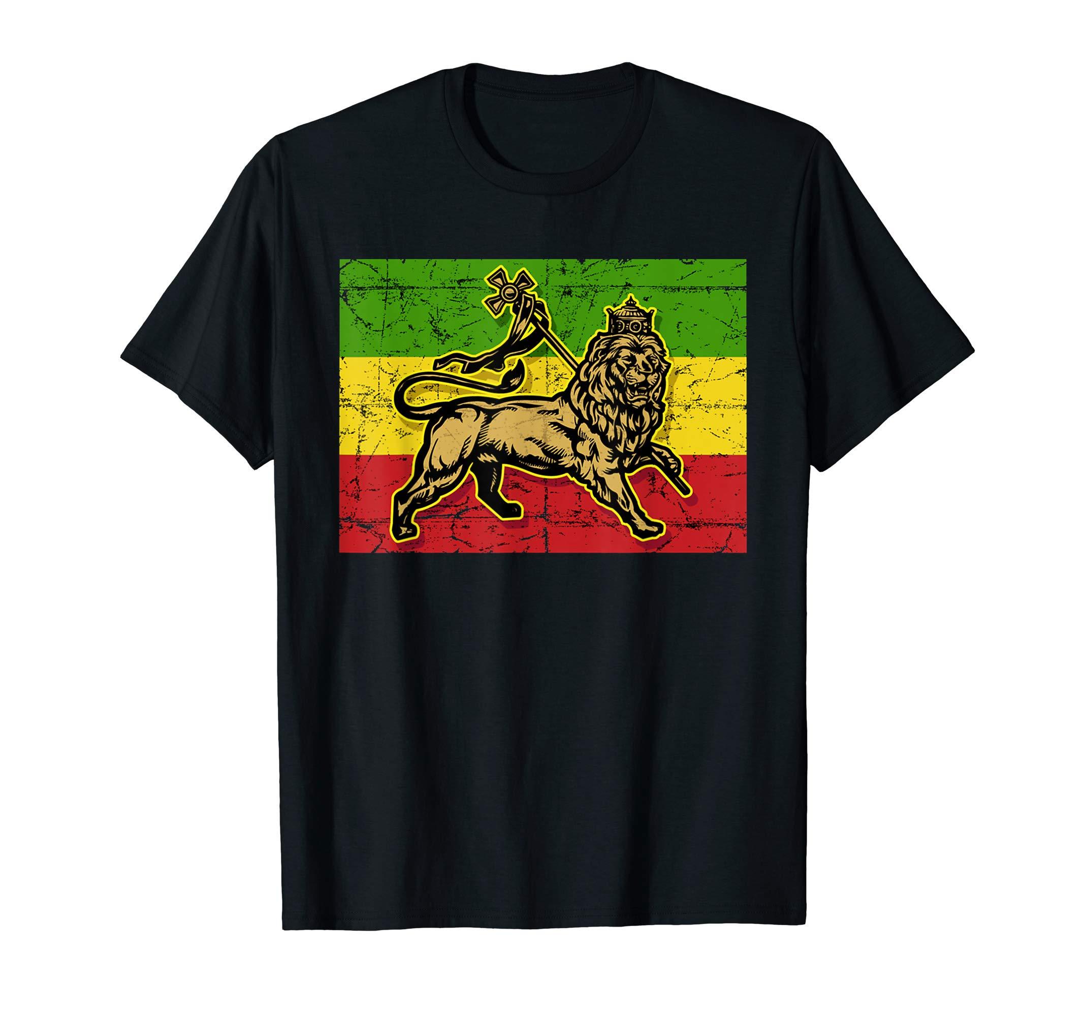 Lion of Judah Rasta Ethiopian Cross Reggae Old Ethiopia Flag T-Shirt