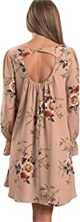 MRstriver Women's Floral Print Chiffon Cocktail Dress Long Sleeve V-Neck Casual Loose Fit