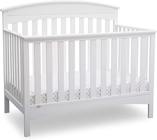 Delta Children Bennington Elite 4 In 1 Convertible Baby Crib Bianca White Arched