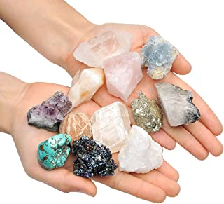 Top Plaza Mineral Rock Variety Tumbled Rough Gemstone Meteorite Fragment Healing Energy Raw Crystal Collection Bulk(5 pcs Rough Irregular Shape Stones)