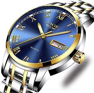 Watches,Mens Full Stainless Steel Blue Men Watch Luminous Quartz Analog Watch Fashion Casual Business Dress Wristwatch Silver Waterproof 30M Casual Clock…