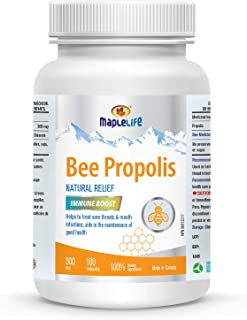 Maplelife Bee Propolis Natural Relief 500mg Easy to Take Capsule Essential Immunity Booster - 100 Capsules