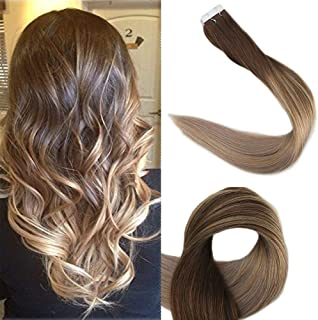 Full Shine 22 inch Ombre Balayage Tape in Human Hair Extensions Good Quality 50g 20Pcs Real Hair Glue Extensions Remy Ombre Hair Color #4 Fading to #18 and #27