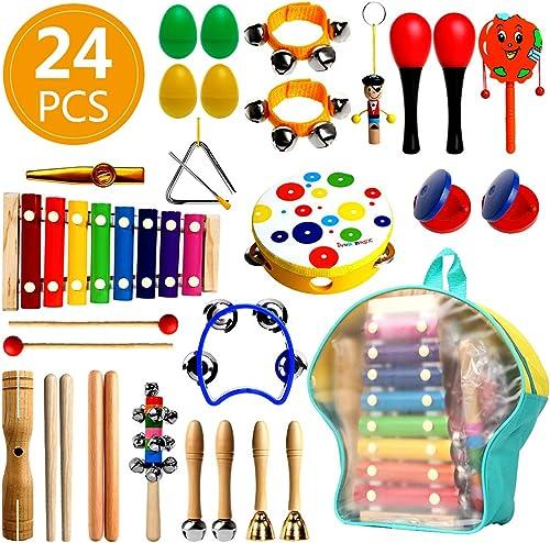 RAIN QUEEN 24Pcs Instrument de Musique Enfant en Bois Percussion Xylophone,Tambourin,Jouet Sac de Dos Transport Range...