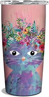 Studio Oh! 17 oz. Insulated Stainless Steel Commuter Tumbler Available in 4 Different Designs, Mia Charro Fancy Flower Cat