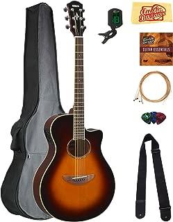 Yamaha APX600 Thin Body Acoustic-Electric Guitar - Old Violin Sunburst Bundle with Gig Bag, Tuner, Strings, Strap, Picks, Austin Bazaar Instructional DVD, and Polishing Cloth
