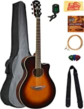Yamaha APX600 Thin Body Acoustic-Electric Guitar - Old Violin Sunburst Bundle with Gig Bag, Tuner, Strings, Strap, Picks, Austin Bazaar Instructional DVD, and Polishing Cloth