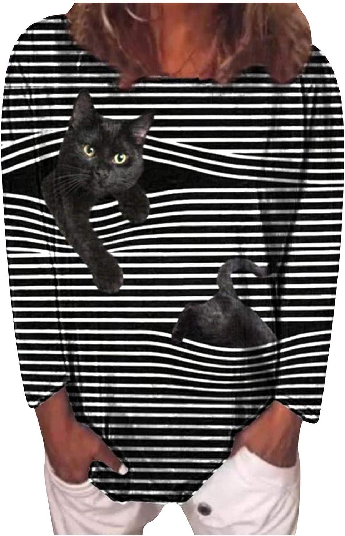 Hoodies for Women,Women Casual Crewneck Tie Dye Sweatshirt Striped Printed Loose Soft Pullover Tops Shirts