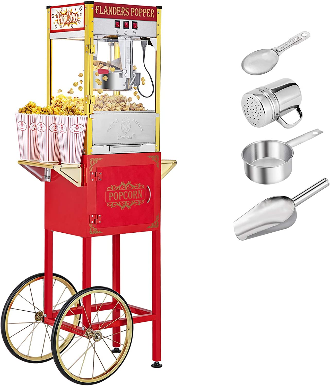 XUANY Retro Popcorn Machine w Minneapolis Mall Regular dealer Cart Ounce 850 Kettle Wheels 8