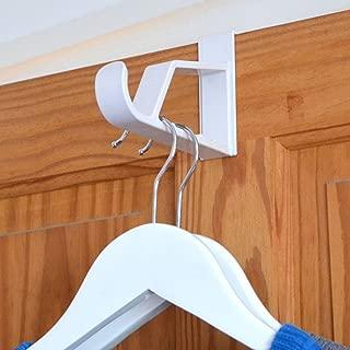 HANGERWORLD 2 White 7inch Plastic Space Saving Over Door Hooks Storage Towels Coat Clothes