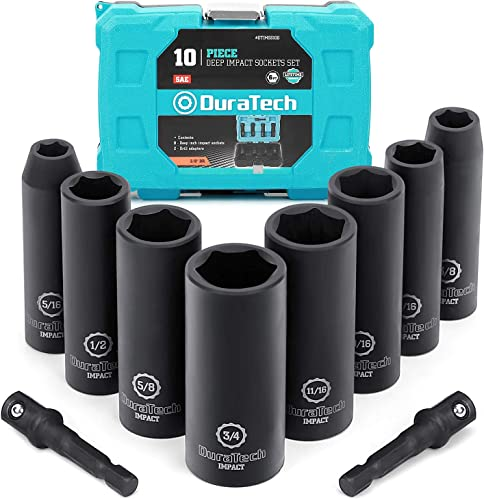 """lowest DURATECH 10-Piece 3/8"""" Drive 6 Point Deep Impact Socket Set, Including 8PCS Deep discount Impact outlet sale Sockets in SAE Sizes (5/16"""" to 3/4"""") & 2PCS 1/4-Inch Hexagon Extension Bars online"""