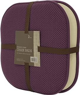 GoodGram 2 Pack Non Slip Ultra Soft Chenille Premium Comfort Memory Foam Chair Pads/Cushions - Assorted Colors (Purple)